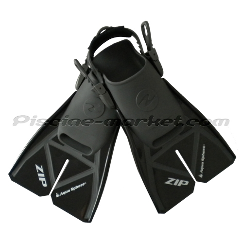 Palmes de natation zip noir gris la paire piscine market for Palmes courtes piscine