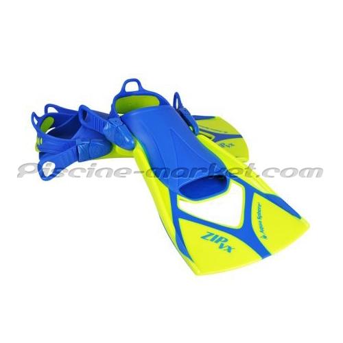 Palmes de natation zip vx jaune bleu la paire piscine for Palmes courtes piscine